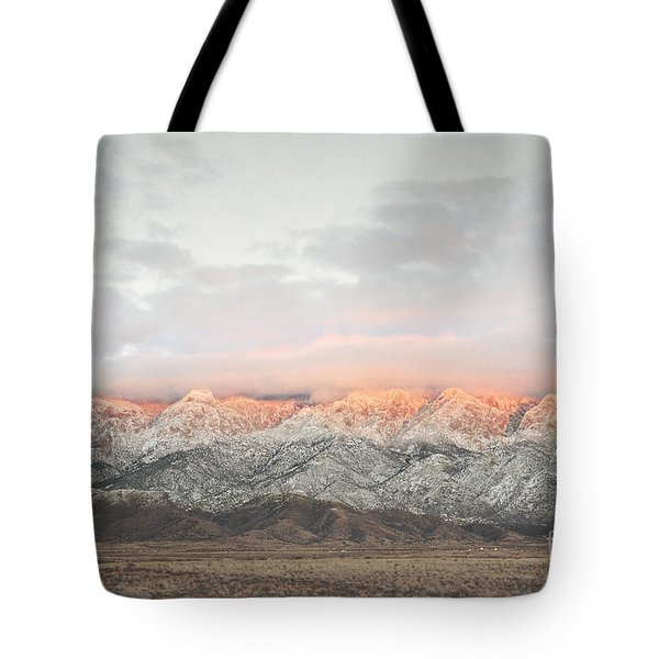Sandia Mountains Rustic Sunset Landscape Tote Bag by Andrea Hazel Ihlefeld