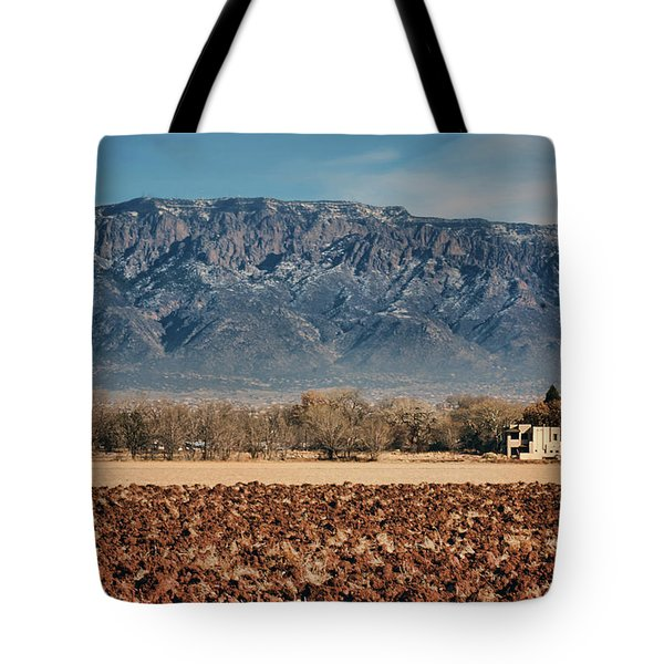 Tote Bag featuring the photograph Sandias - Los Poblanos Fields by Nikolyn McDonald