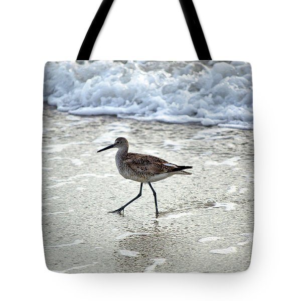 Sandpiper Escaping The Waves Tote Bag