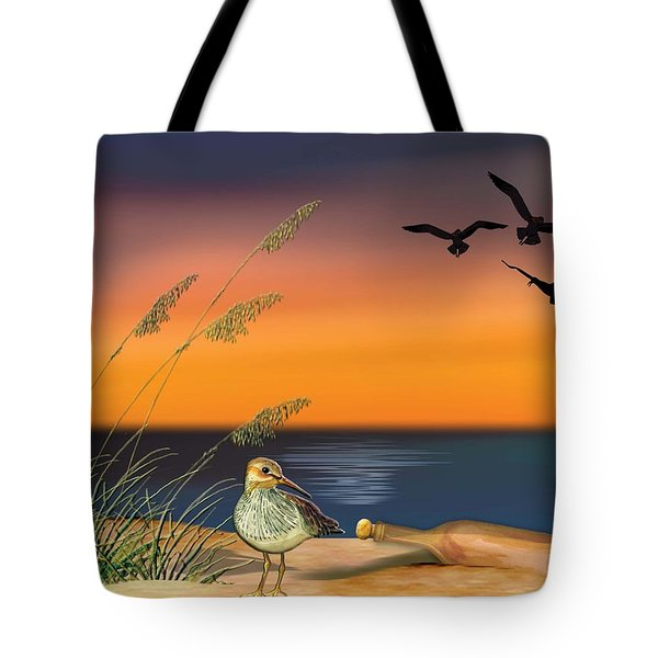 Tote Bag featuring the painting Sandpiper For Angel by Anne Beverley-Stamps