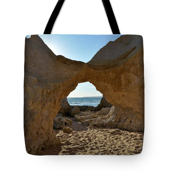 Sandstone Arch In Gale Beach. Algarve Tote Bag