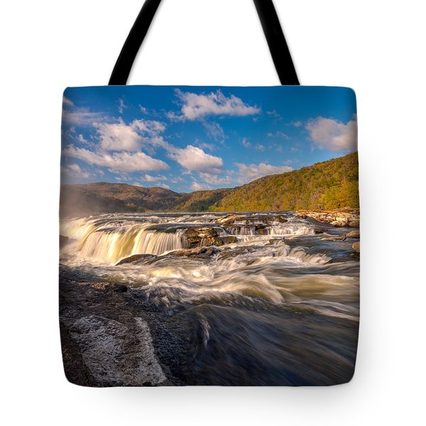 Sandstone Falls New River Gorge Tote Bag by Rick Dunnuck