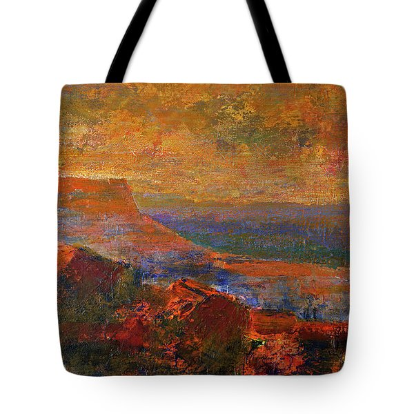 Tote Bag featuring the painting Sandstorm Over The Canyon by Walter Fahmy