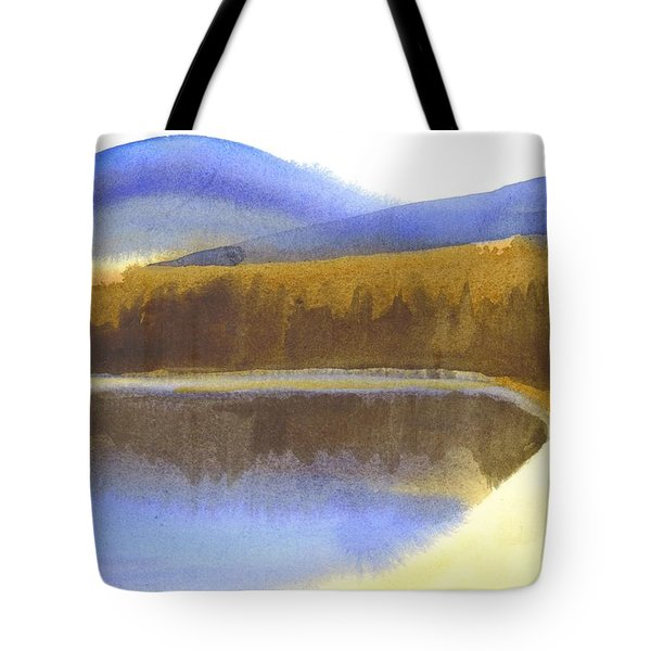 Tote Bag featuring the painting Sandy Blue Dusky Mountain Lake by Kip DeVore