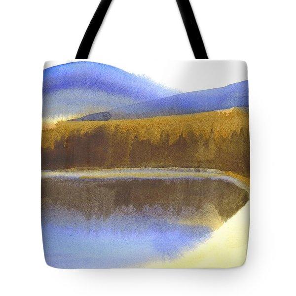 Sandy Blue Dusky Mountain Lake Tote Bag by Kip DeVore