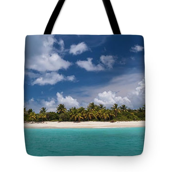 Tote Bag featuring the photograph Sandy Cay Beach British Virgin Islands Panoramic by Adam Romanowicz