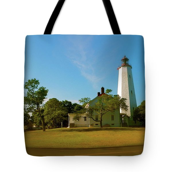 Tote Bag featuring the photograph Sandy Hook Lighthouse by Iconic Images Art Gallery David Pucciarelli