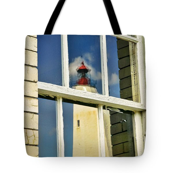 Sandy Hook Lighthouse Reflection Tote Bag