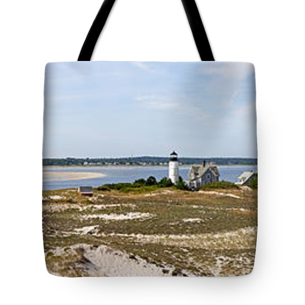 Sandy Neck Lighthouse With Fishing Boat Tote Bag