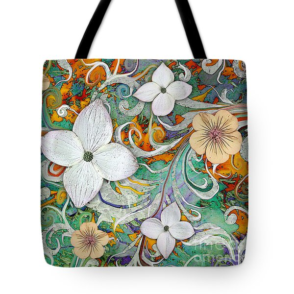 Tote Bag featuring the mixed media Sangria Flora by Christopher Beikmann
