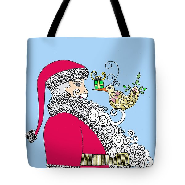 Santa And Bird On Blue Tote Bag