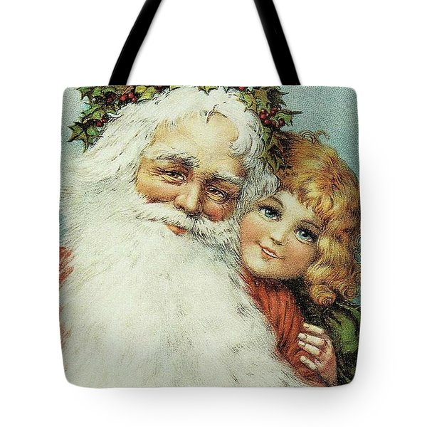 Santa And His Little Admirer Tote Bag