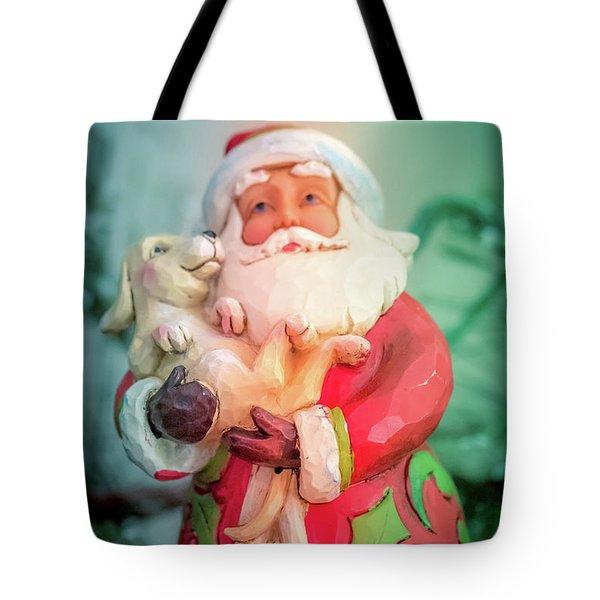 Santa And Lab Pup Tote Bag