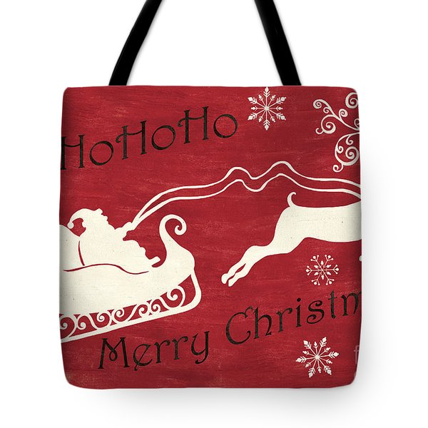 Santa And Reindeer Sleigh Tote Bag