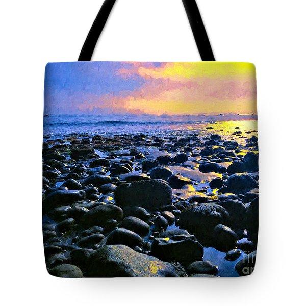 Santa Barbara Beach Sunset California Tote Bag