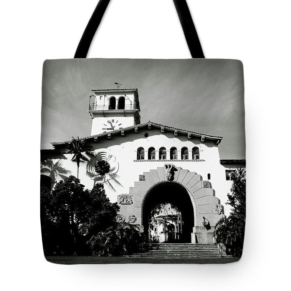 Santa Barbara Courthouse Black And White-by Linda Woods Tote Bag by Linda Woods