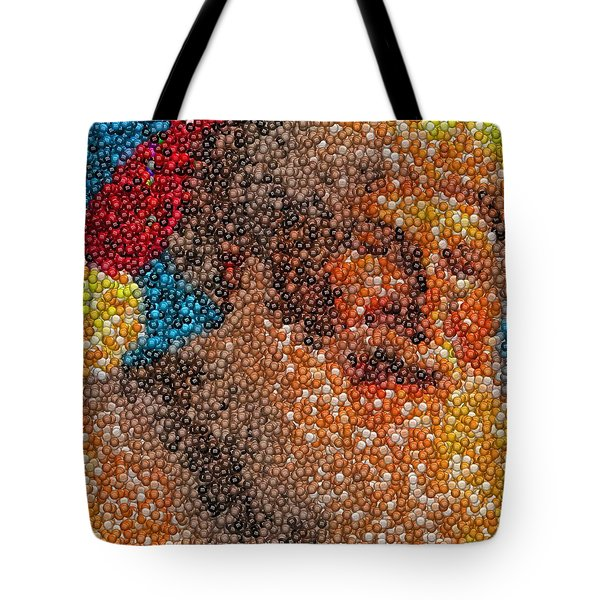 Tote Bag featuring the mixed media Santa Claus Mm Candy Mosaic by Paul Van Scott