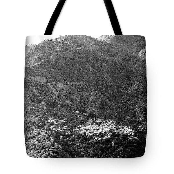 Tote Bag featuring the photograph Santa Cruz Guatemala Black And White by Tim Hester