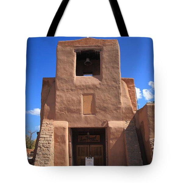 Santa Fe - San Miguel Chapel Tote Bag by Frank Romeo