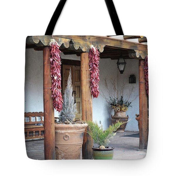 Tote Bag featuring the photograph Santa Fe Red Chili Ristra Porch by Andrea Hazel Ihlefeld