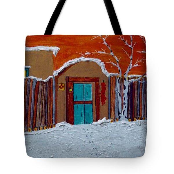 Santa Fe Snowstorm Tote Bag by Joseph Frank Baraba