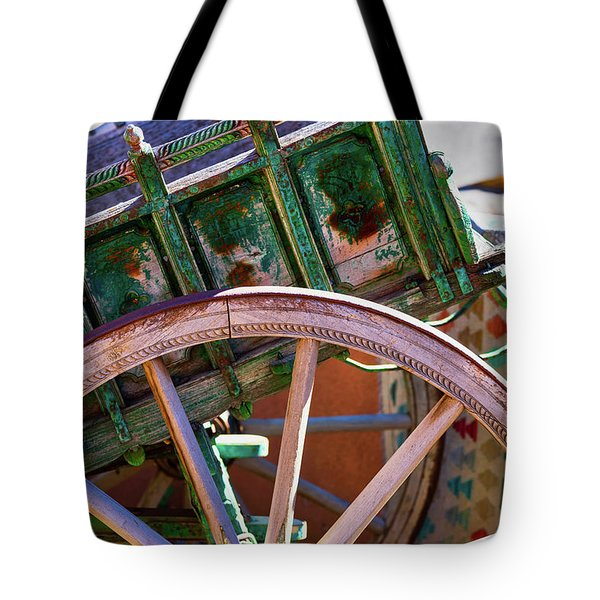 Tote Bag featuring the photograph Santa Fe Spokes by Stephen Anderson