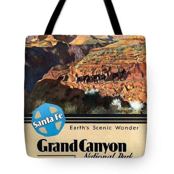 Santa Fe Train To Grand Canyon - Vintage Poster Restored Tote Bag