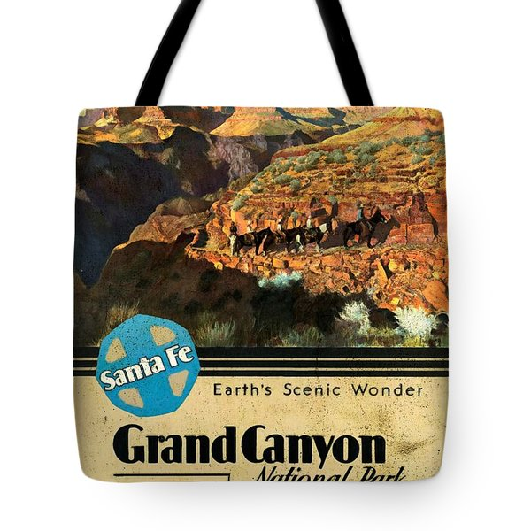 Santa Fe Train To Grand Canyon - Vintage Poster Vintagelized Tote Bag