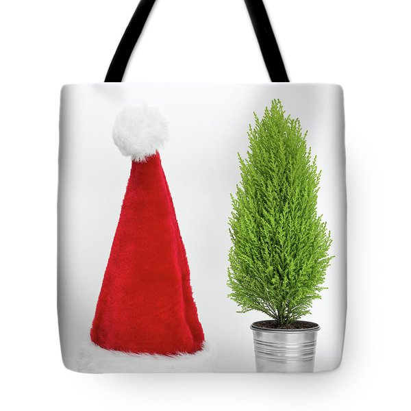 Santa Hat And Little Christmas Tree Tote Bag