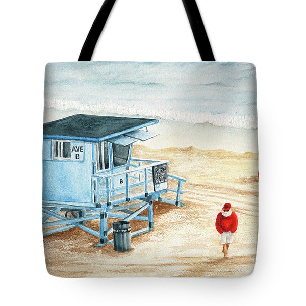 Santa Is On The Beach Tote Bag