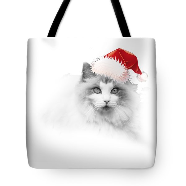 Tote Bag featuring the digital art Santa Kitty by Kathleen Illes