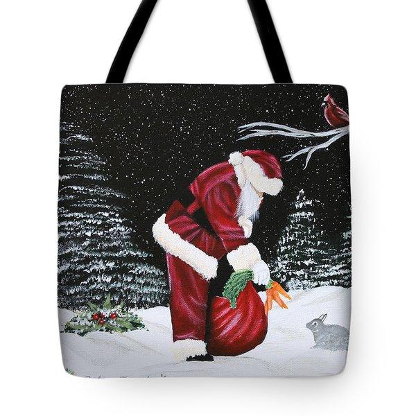 Santa Loves All Creatures Tote Bag