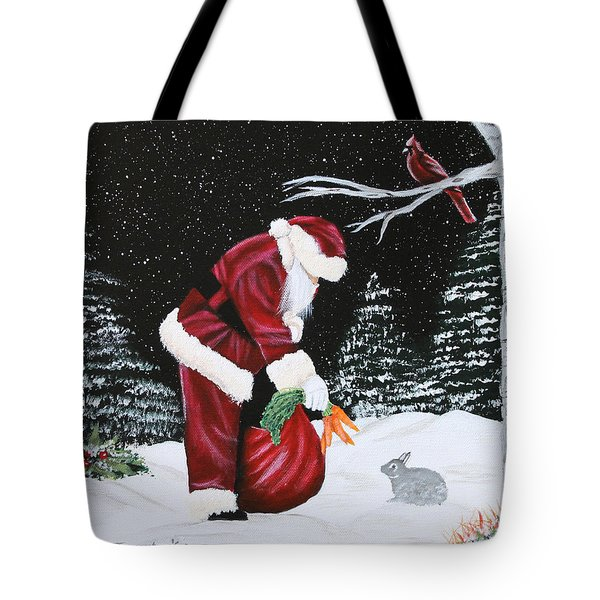 Santa Loves All Creatures Tote Bag