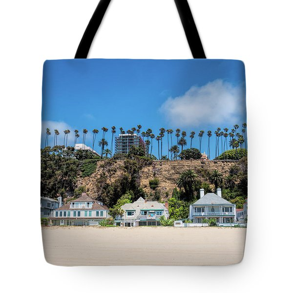 Tote Bag featuring the photograph Santa Monica Beach Front by Michael Hope