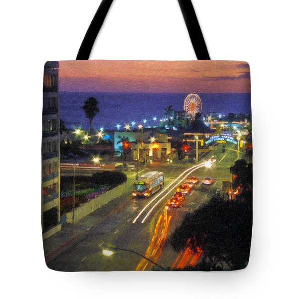 Tote Bag featuring the photograph Santa Monica Ca Pacific Park Pier  Sunset by David Zanzinger