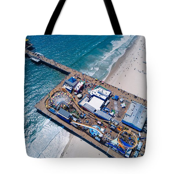 Santa Monica Pier From Above Side Tote Bag