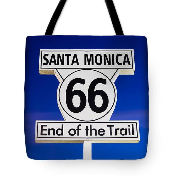Santa Monica Route 66 Sign Tote Bag by Paul Velgos