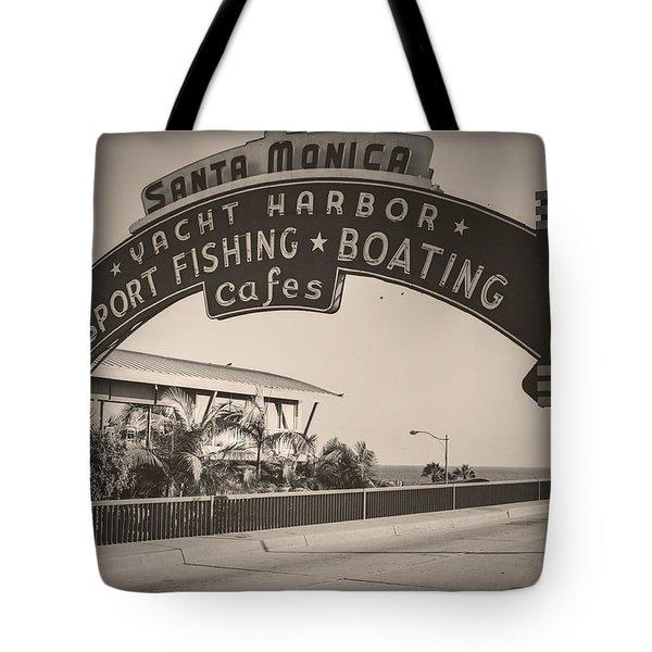 Santa Monica Sign Series Modern Vintage Tote Bag