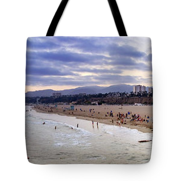 Santa Monica Sunset Panorama Tote Bag