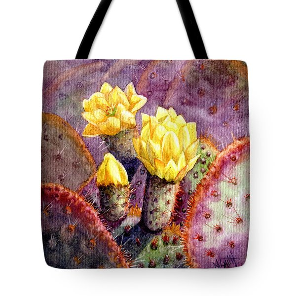 Tote Bag featuring the painting Santa Rita Prickly Pear Cactus by Marilyn Smith