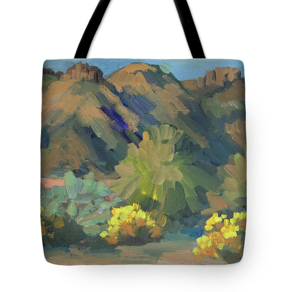 Tote Bag featuring the painting Santa Rosa Mountains And Brittle Bush by Diane McClary