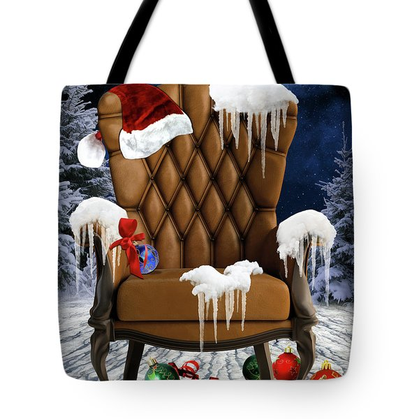 Santa's Chair Tote Bag by Mihaela Pater