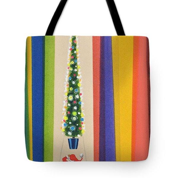 Santa's Christmas Tree Tote Bag by Stanley Cooke