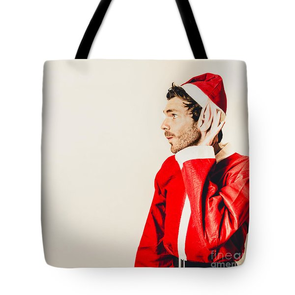 Tote Bag featuring the photograph Santas Little Helper Listening To Christmas Orders by Jorgo Photography - Wall Art Gallery