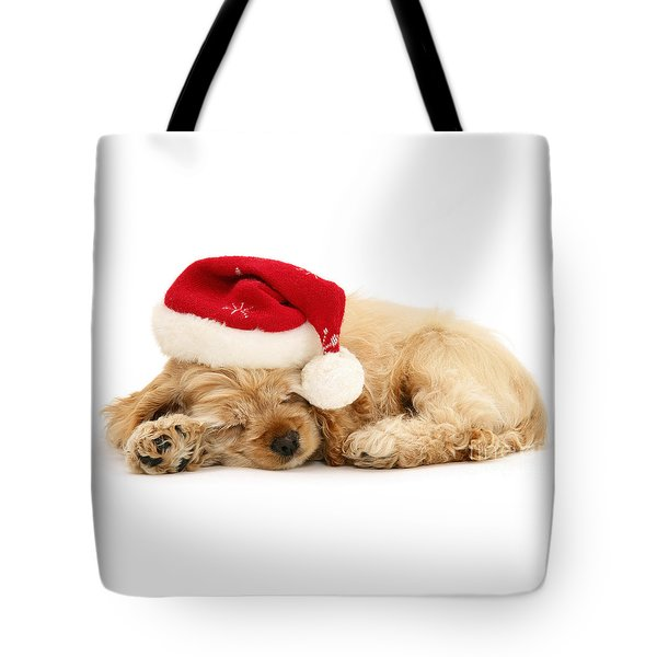 Santa's Sleepy Spaniel Tote Bag