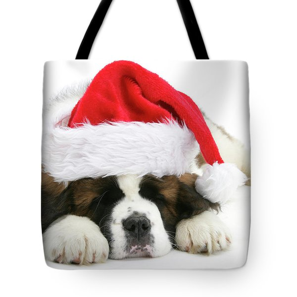Santa's Snoozing Saint Bernard Tote Bag