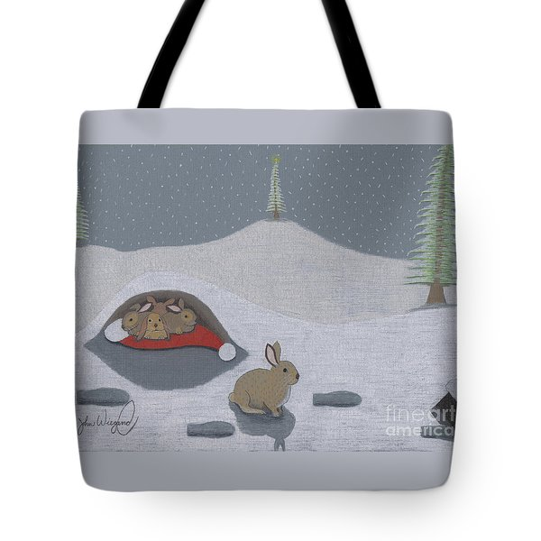 Tote Bag featuring the drawing Santa's Ultimate Gift by John Wiegand