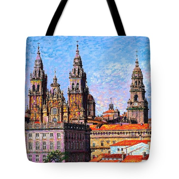 Tote Bag featuring the painting Santiago De Compostela, Cathedral, Spain by Jane Small