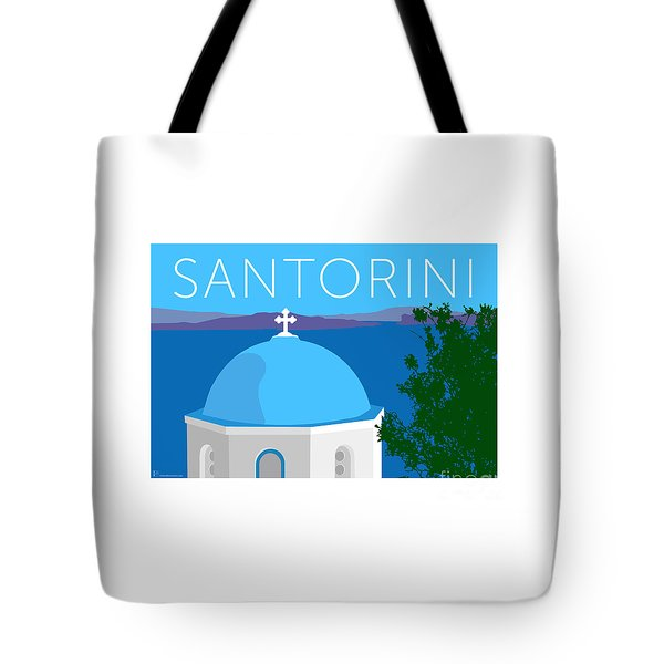 Tote Bag featuring the digital art Santorini Dome - Blue by Sam Brennan