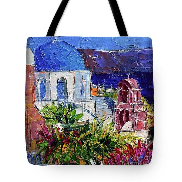 Santorini Church - Mini Cityscape 01 - Modern Impressionist Palette Knife Oil Painting Tote Bag